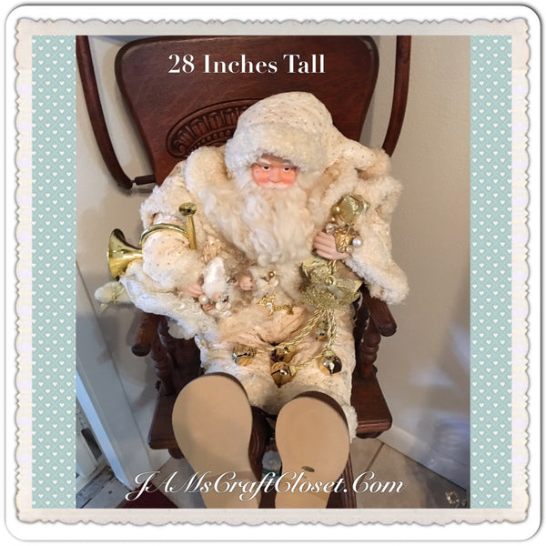 Sitting Santa 28 Inches Tall Carrying French Horn Doll Bear Bells Collectors Edition 2000