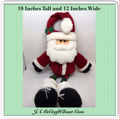 Vintage Santa Plush Fabric Shelf Sitter 18 Inches Tall With Holly on Hat and Wooden Beads for Legs