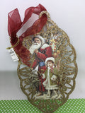Santa Ornament Oval Santa With Girl in Green Coat Holiday Decor Tree Decor