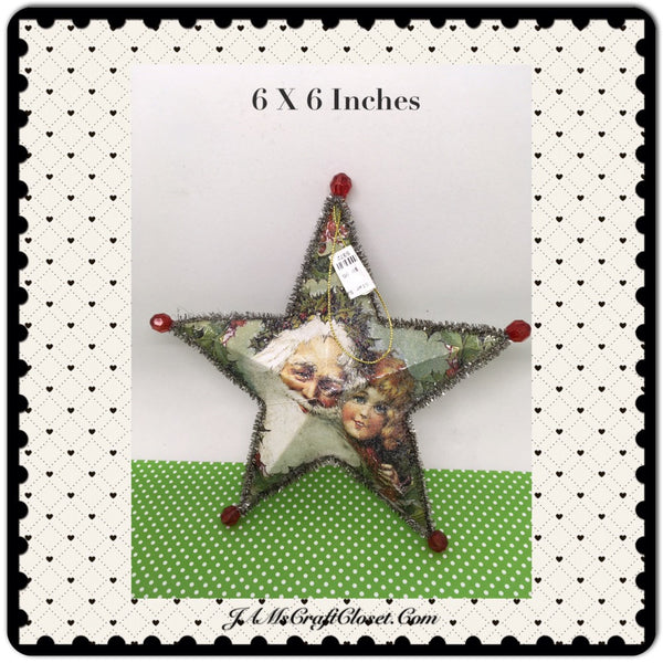 Star Ornament Santa With Little Girl Christmas Tree Holiday Decor Tree Decor JAMsCraftCloset