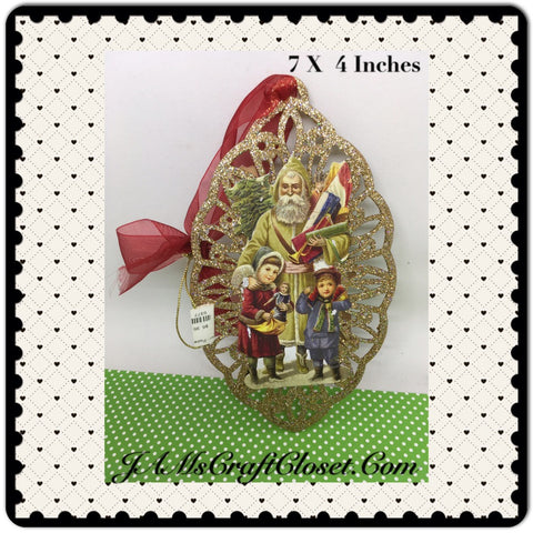 Santa Ornament Oval Santa With Boy and Girl  Holiday Decor Tree Decor