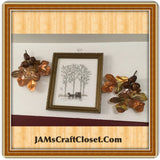 Vintage Wall Art Cross Stitch Picture and 2 Vintage Brass and Wood Accents SET OF 3