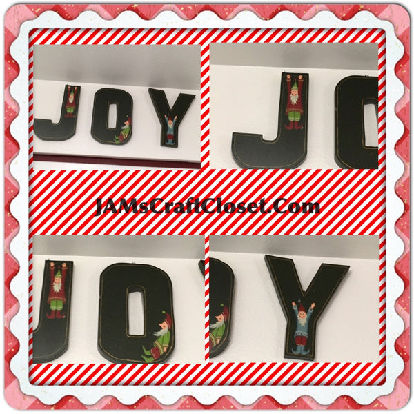 Vintage Wooden Hand Painted  JOY Holiday Wall Art With Elves Home  Country Kitchen Primitive