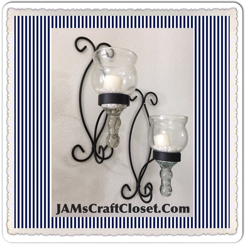 Sconce Wrought Iron Vintage Sconce Candle Holder With Vintage Votives SET OF 2