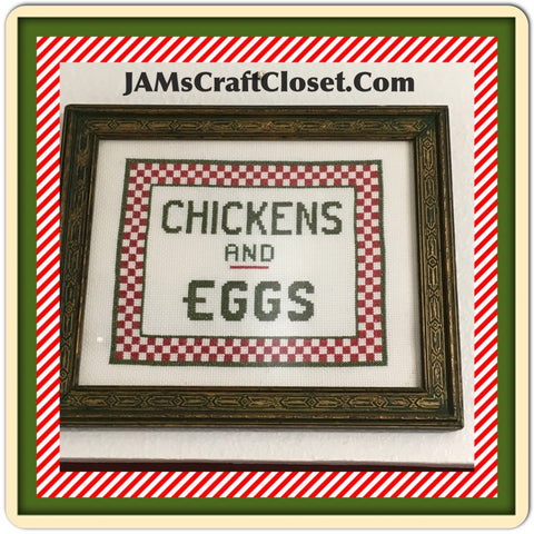 Picture Vintage Picture Cross Stitch by ME Chickens and Eggs Kitchen Decor Home Decor Country Kitchen Primitive Kitchen JAMsCraftCloset