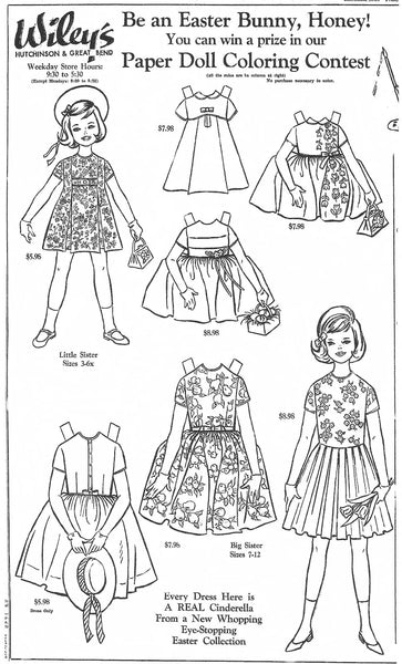 FREE Coloring Pages Paper Doll Patterns Style 20