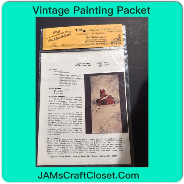 Vintage DIY Painting Packet #20 Snowy Grainery JAMsCraftCloset