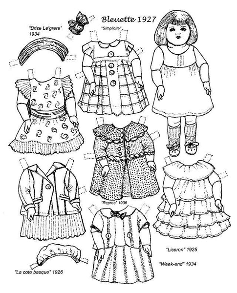 FREE Coloring Pages Paper Doll Patterns Style 21