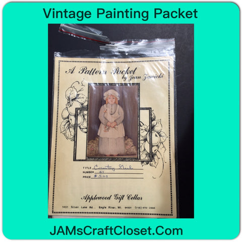 Vintage DIY Painting Packet #21 Country Girl with Duck JAMsCraftCloset