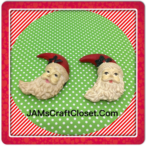 Santa Face Magnets Vintage Christmas Holiday Decoration Kitchen Decor SET OF 2 JAMsCraftCloset