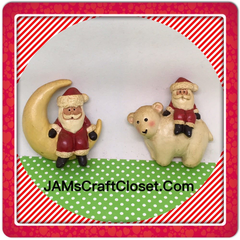 Santa Claus on Moon and Bear Magnets Vintage Christmas Holiday Decoration  Kitchen Decor SET OF 2