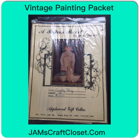 Vintage DIY Painting Packet #22 Country Boy with Duck and Pail JAMsCraftCloset