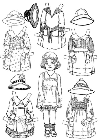 FREE Coloring Pages Paper Doll Patterns Style 22