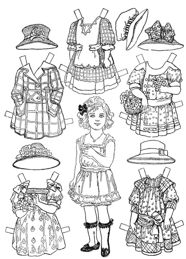 FREE Coloring Pages Paper Doll Patterns Style 23