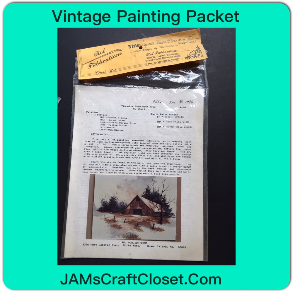 Vintage Painting Packet #23 Vignette Barn with Tree