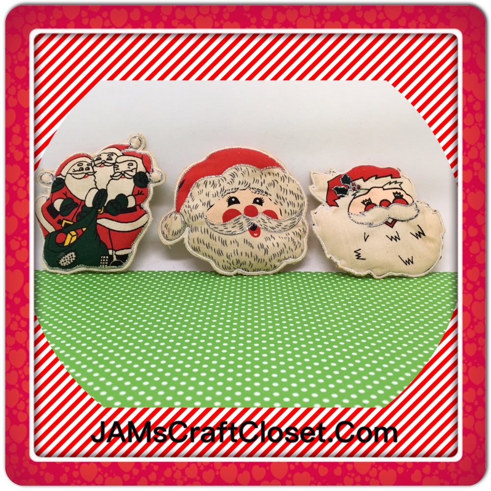 Santa Claus Magnets Vintage Christmas Holiday Decoration Kitchen Decor SET OF 3