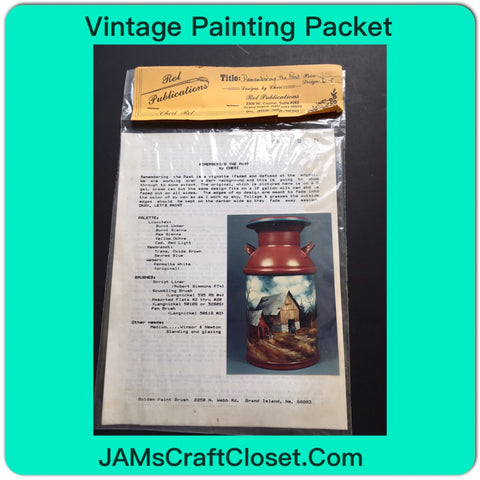 Vintage DIY Painting Packet #25 Milkcan with Barn and Building JAMsCraftCloset
