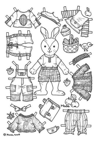 FREE Coloring Pages Paper Doll Patterns Style 25