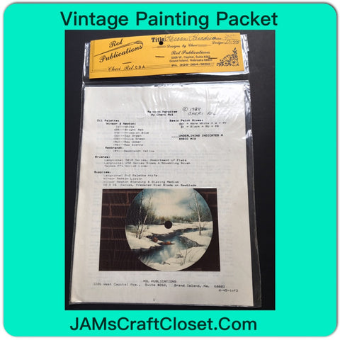 Vintage Painting Packet #27 Winter Scene on Saw Blade Raccoon Paradise