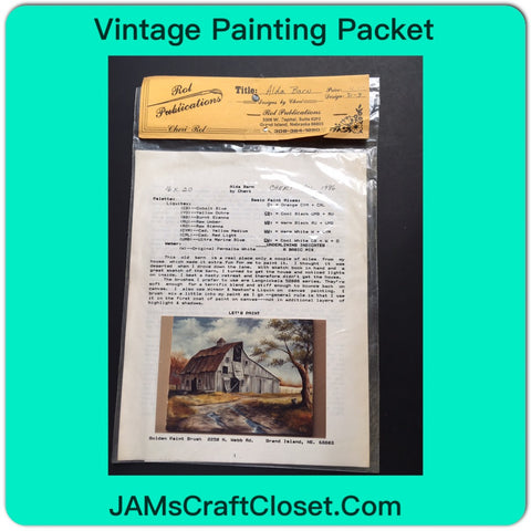 Vintage DIY Painting Packet #28 Aida Barn White Barn with Rusted Tin Roof JAMsCraftCloset