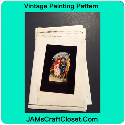 Vintage DIY Painting Packet #30 Country Boy and Girl Under Umbrella JAMsCraftCloset