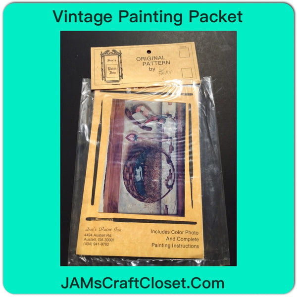 Vintage DIY Painting Packet #3 Country Basket With Bunny and Rocking Horse JAMsCraftCloset