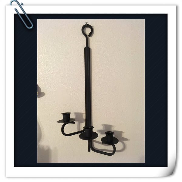 Candlestick Holder Votive Holder Vintage Black Wrought Iron 3 Arm Home Decor - JAMsCraftCloset