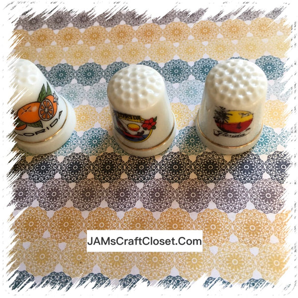 Thimbles #4 Vintage FLORIDA SET of 3 JAMsCraftCloset