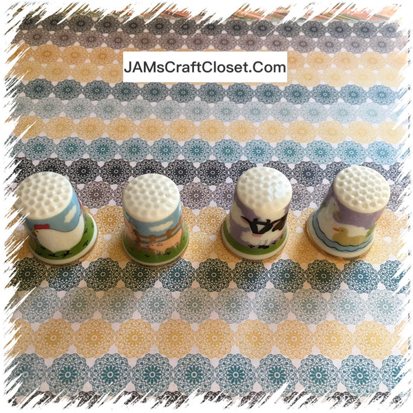 Thimbles #5 Vintage Country Scene SET of 4 JAMsCraftCloset