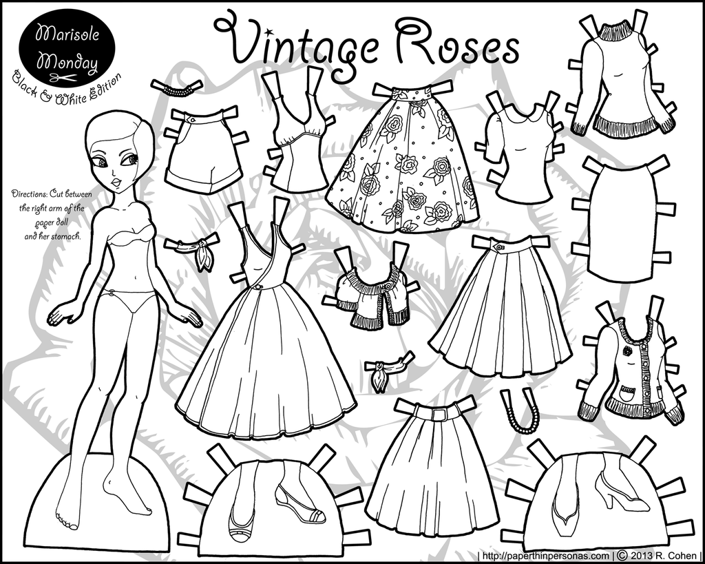 FREE Coloring Pages Paper Doll Patterns Style 1