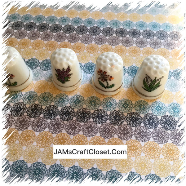 Thimbles #6 Vintage Flowers SET of 4 JAMsCraftCloset