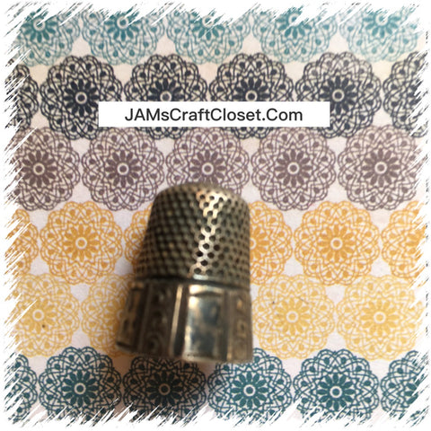 Thimble #8 Vintage Silver Dots and Bars Thimble