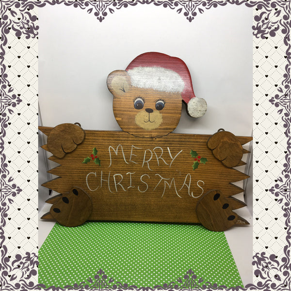Merry Christmas Bear Sign Vintage Handmade Hand Painted by ME Wooden Christmas Decor Holiday Decor Wall Art Wall Hanging - JAMsCraftCloset
