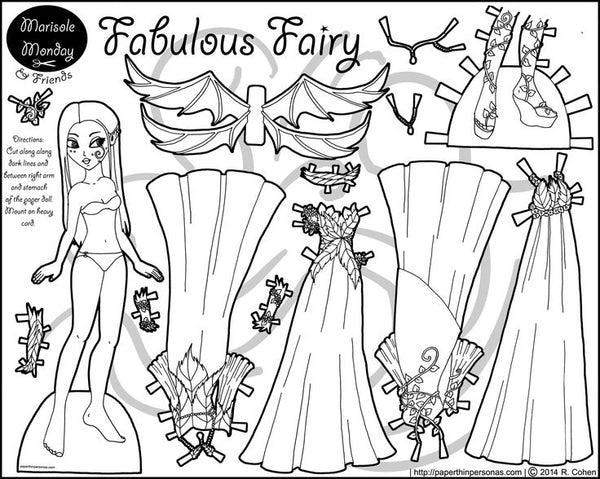 FREE Coloring Pages Paper Doll Patterns Style 4