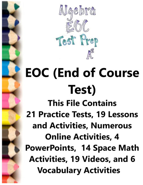 Algebra EOC (End of Course) Test Prep Teacher Supplemental Activities JAMsCraftCloset