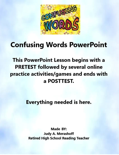 Confusing Words Complete PowerPoint Lesson With ANSWER KEYS Teacher Resource
