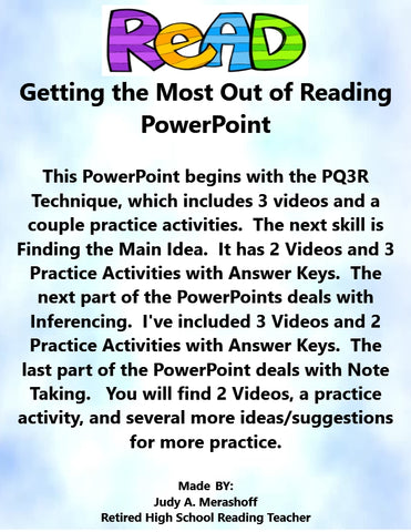 Getting the Most Out of Reading - Complete Teacher Lesson on PowerPoint Includes PQ3R Main Idea Inference Note Taking - JAMsCraftCloset