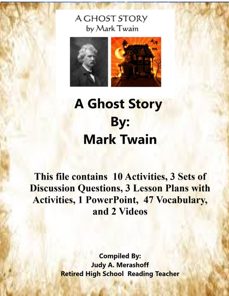 A Ghost Story By Mark Twain Teacher Supplemental Resources Fun Engaging JAMsCraftCloset