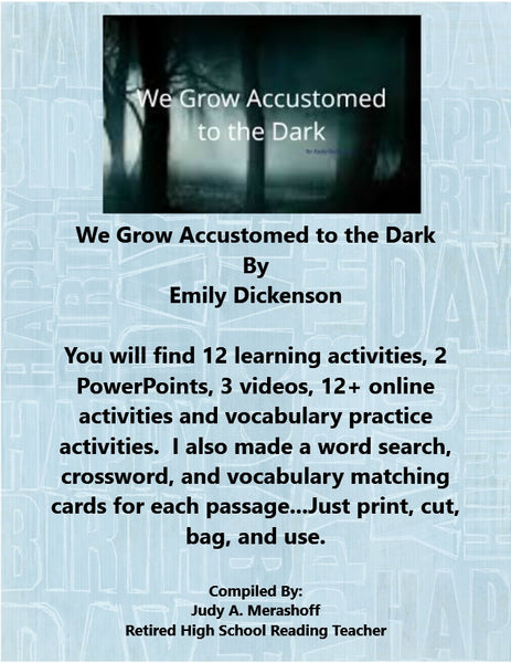 We Become Accustomed to the Dark from HMH 10th Grade Textbook Collection 4 JAMsCraftCloset