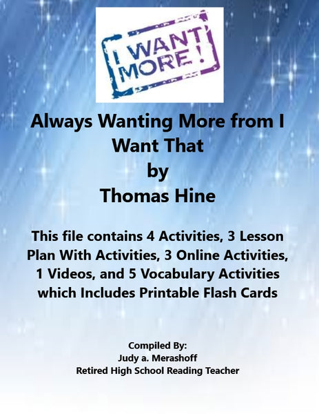 Always Wanting More from I Want That 7th Grade Florida Collection 5 Supplemental Activities JAMsCraftCloset