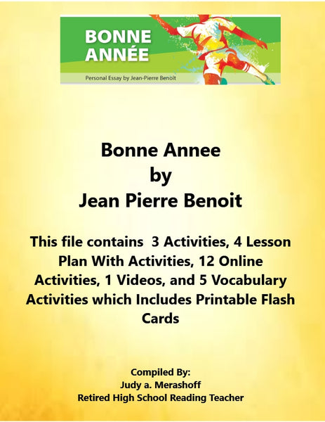 Florida Collections 8th Grade Collection 1 Bonne Annee by Jean Pierre Benoit Supplemental Activities JAMsCraftCloset