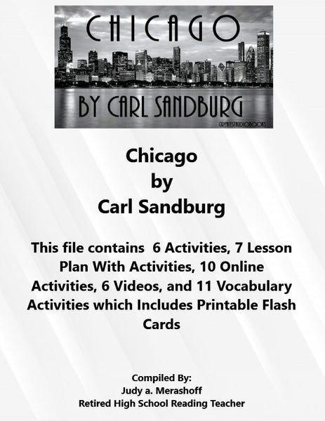 Florida Collection 8th Grade Collection 6 Chicago by Carl Sandburg Supplemental Activities JAMsCraftCloset