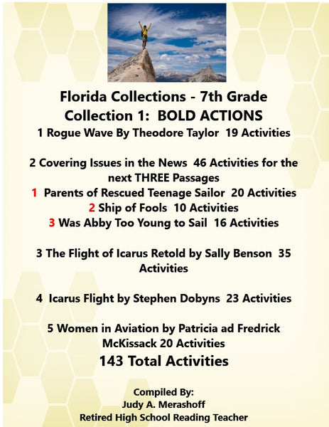 Florida Collections 7th Grade Collection 1 BOLD ACTIONS 7 Passages Supplemental Activities JAMsCraftCloset