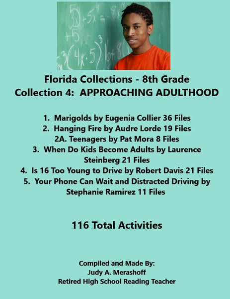 Florida Collections 8th Grade Collection 4 APPROACHING ADULTHOOD 5 Passages Supplemental Activities JAMsCraftCloset