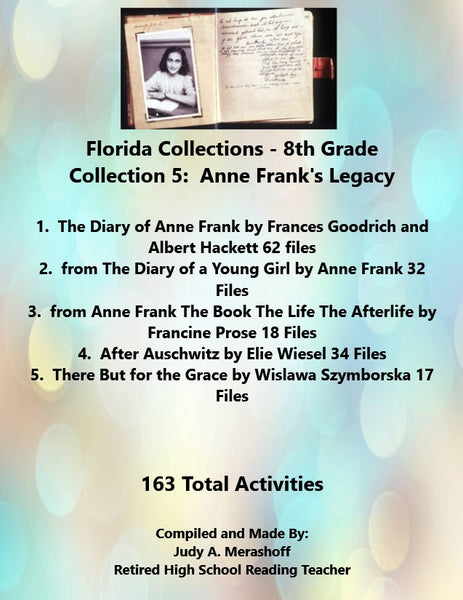 Florida Collections 8th Grade Collection 5 ANNE FRANKS LEGANCY 5 Passages Supplemental Activities JAMsCraftCloset