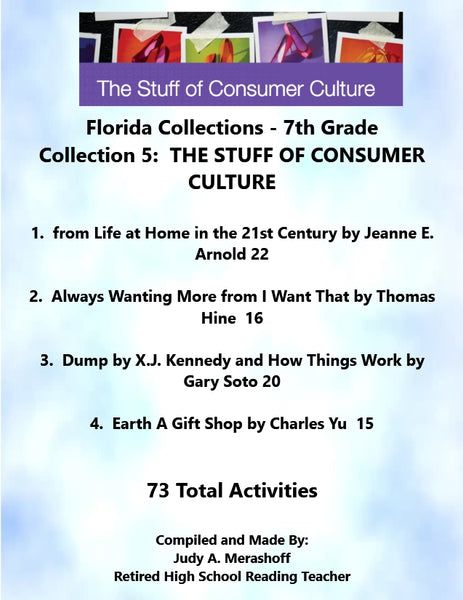 Florida Collections 7th Grade Collection 5 The Stuff of Consumer Culture Supplemental Activities JAMsCraftCloset