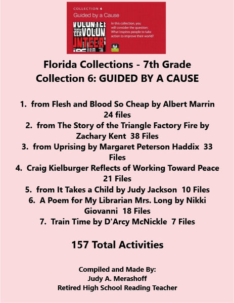 Florida Collections 7th Grade Collection 6 GUIDED BY A CAUSE Supplemental Activities JAMsCraftCloset