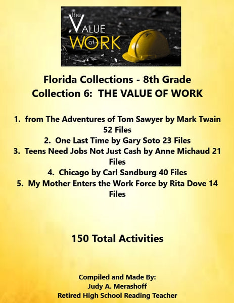 Florida Collections 8th Grade Collection 6 THE VALUE OF WORK 4 Passages Supplemental Activities JAMsCraftCloset