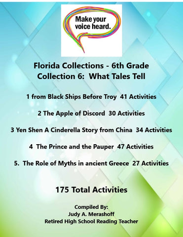 Florida Collections 6th Grade Collection 6 WHAT TALES TELL Supplemental Activities 5 Passages JAMsCraftCloset