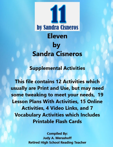 Florida Collections 6th Grade Collection 4 Eleven by Sandra Cisneros Supplemental Activities JAMsCraftCloset
